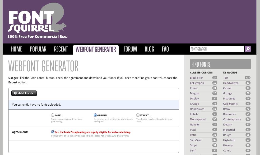 Font Squirrel Webfont Generator